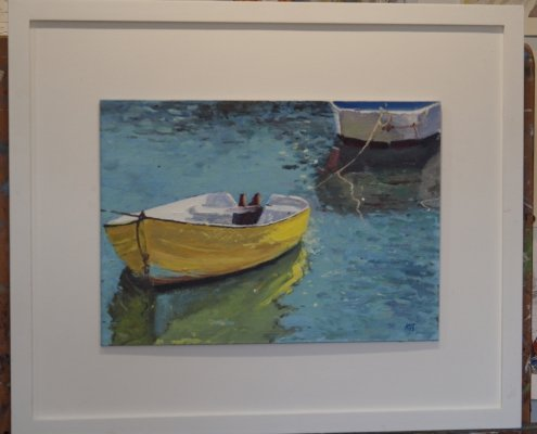 Yellow Skiff at Mevagissey by Stewart Kent